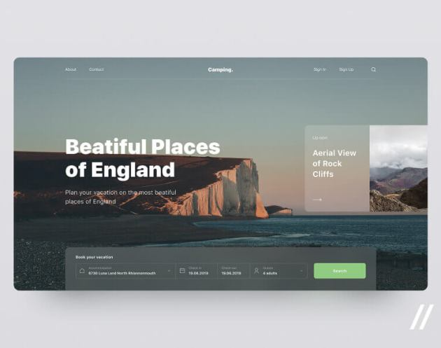 Travel Website Concept - uifreebies.net