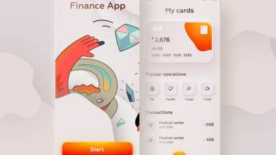 Skeuomorphic Finance App Design - uifreebies.net