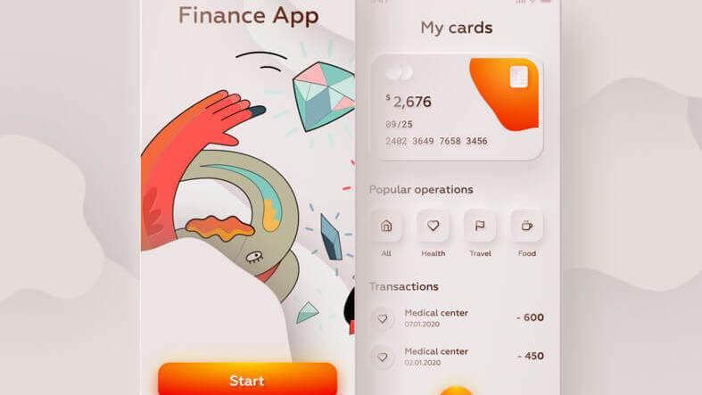 Skeuomorphic Finance App Design- uifreebies.net