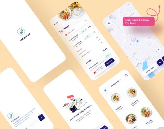Limester Food App- uifreebies.net