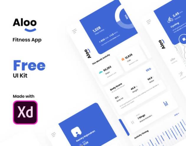 Aloo Fitness App UI Kit- uifreebies.net