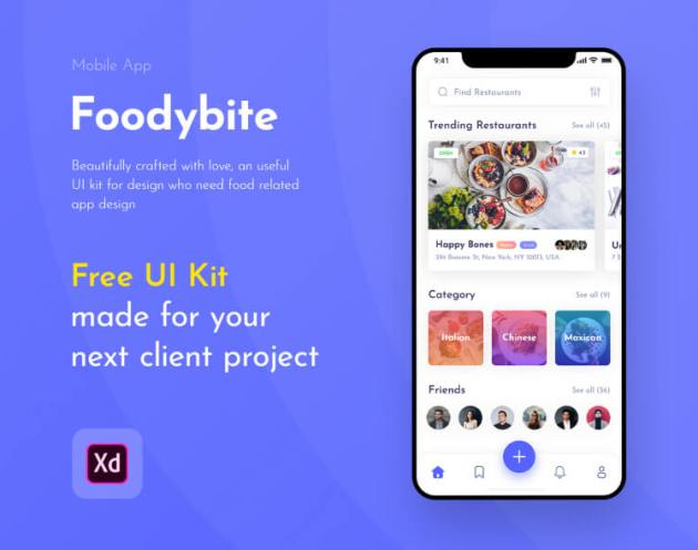 Foodybite - Free UI Kit for Adobe XD - uifreebies.net