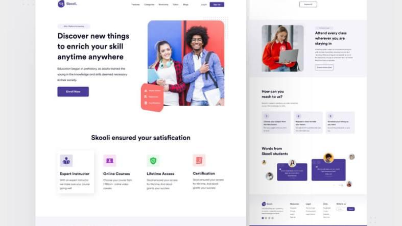 Skooli Education Landing page