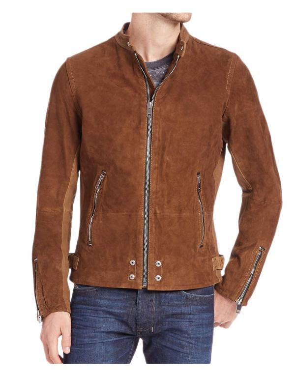 Zipper Casual Wear Mens Brown Suede Leather Jacket - Ujackets