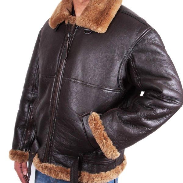Mens Aviator Flying B3 Shearling Sheepskin Leather Bomber Jacket