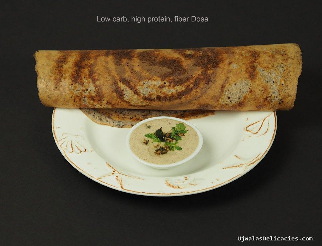 Whole-grain, low-carb, high-fiber dosa