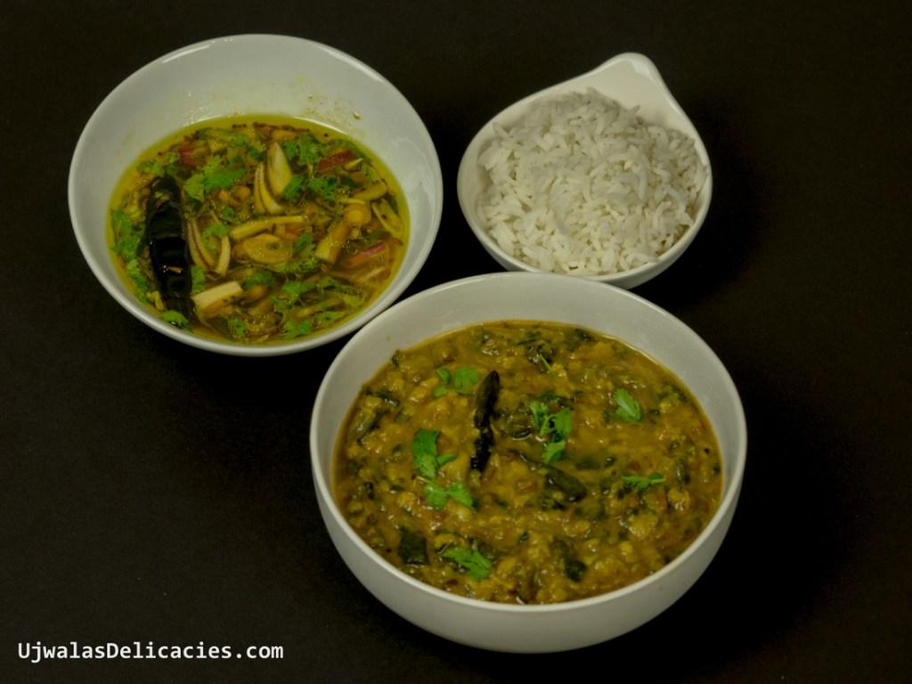 Malabar spinach in lentils
