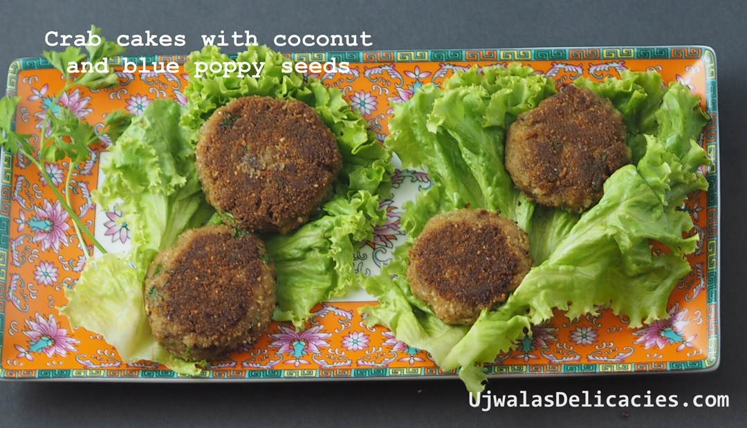Coconut, blue poppy crab cakes