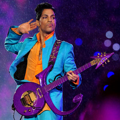 Prince performing during halftime at Super Bowl XLI in 2007.