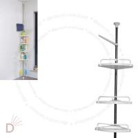 4 Tier Adjustable Telescopic Bathroom Corner Shower Shelf ...