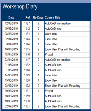 Insight Training - Course Schedule