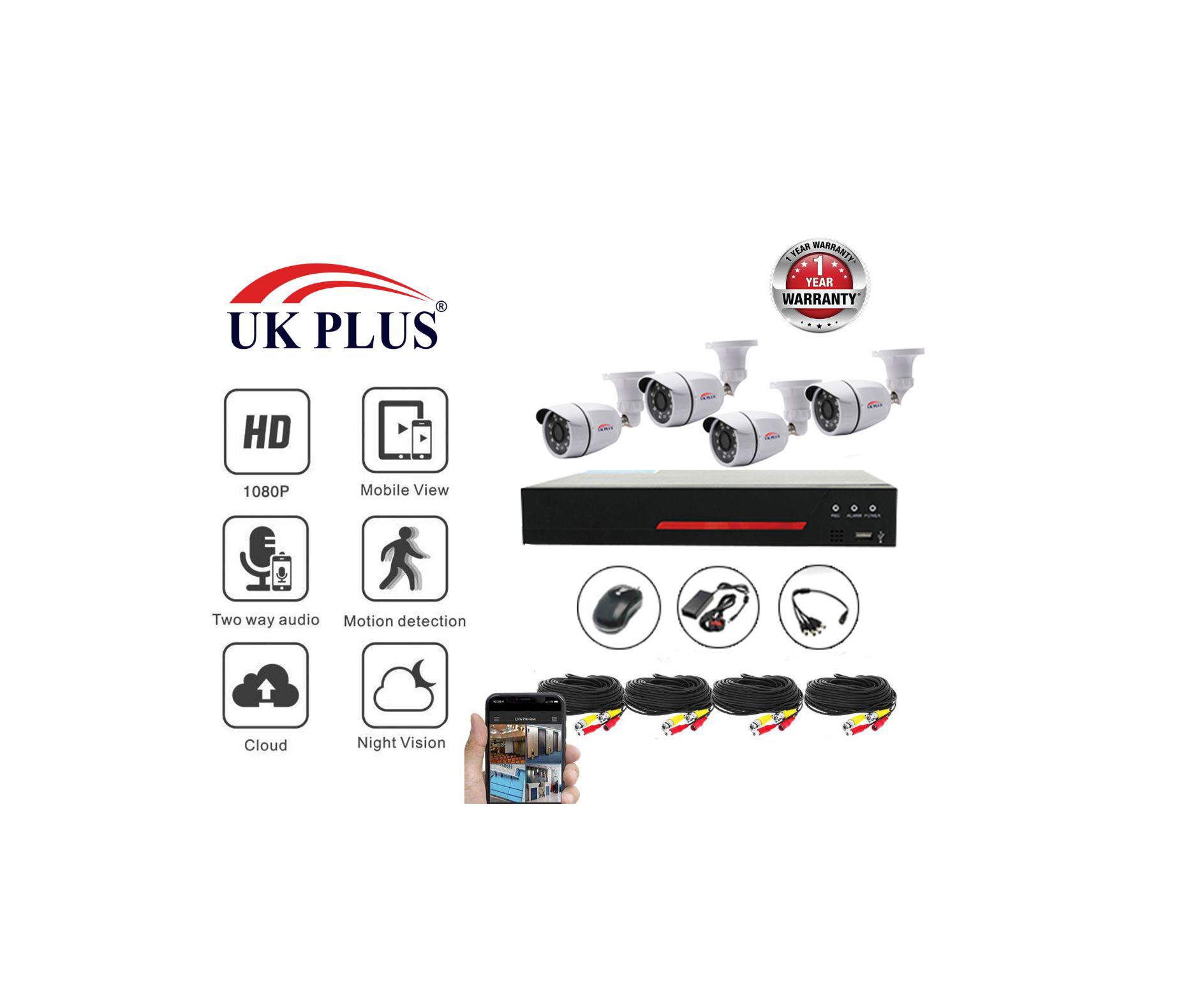 UKJPLUS 2.0 MP Full HD 4 outdoor Bullet Camera Kit UK