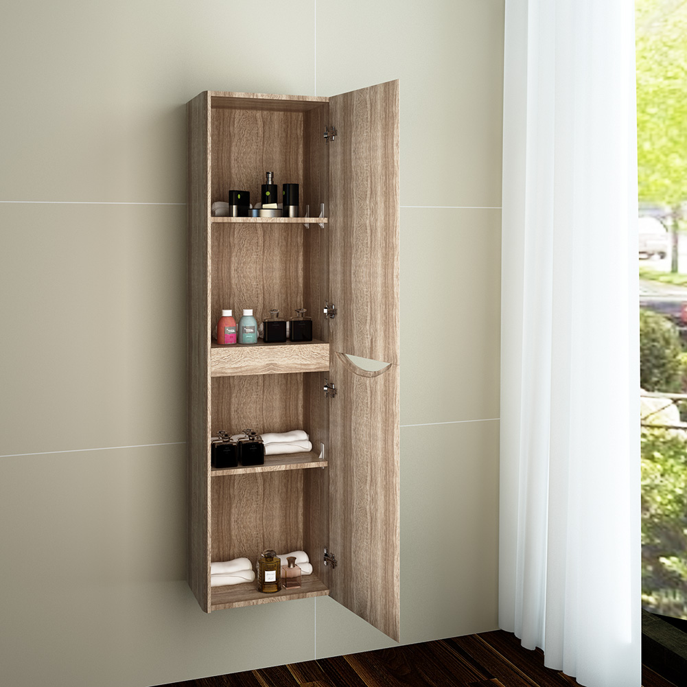 Bathroom Oak Side Unit Tall Cabinet Storage Unit Wall Hung