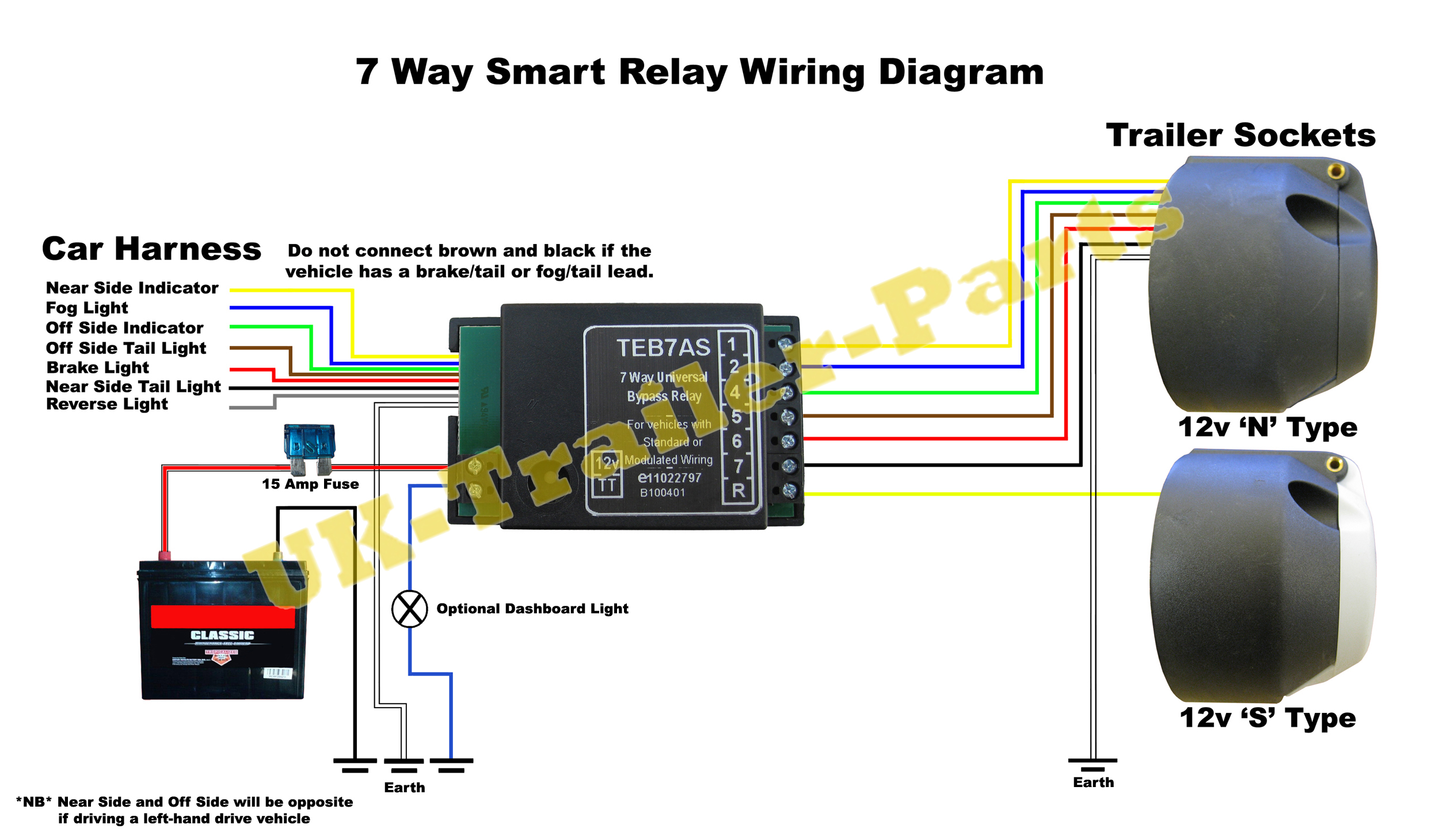 7 way trailer connector wiring diagram 1999 ford f250 super duty universal bypass relay 12v tow bar electrics teb7as