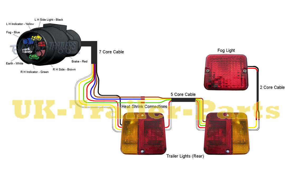 7 Pin 'N' Type Trailer Plug Wiring Diagram UK Trailer Parts