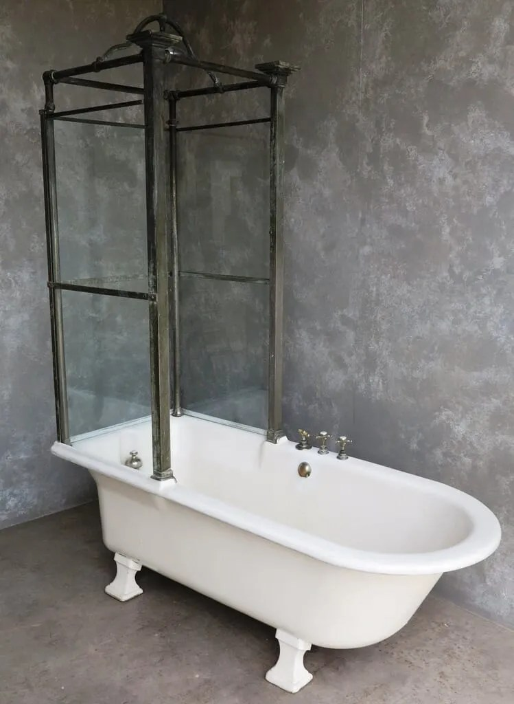 Antique Bathroom Cast Iron Canopy and Glass Shower Bath