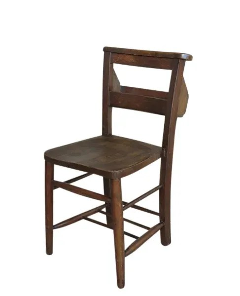 Antique Church Chairs Made From Wood with Bible Backs
