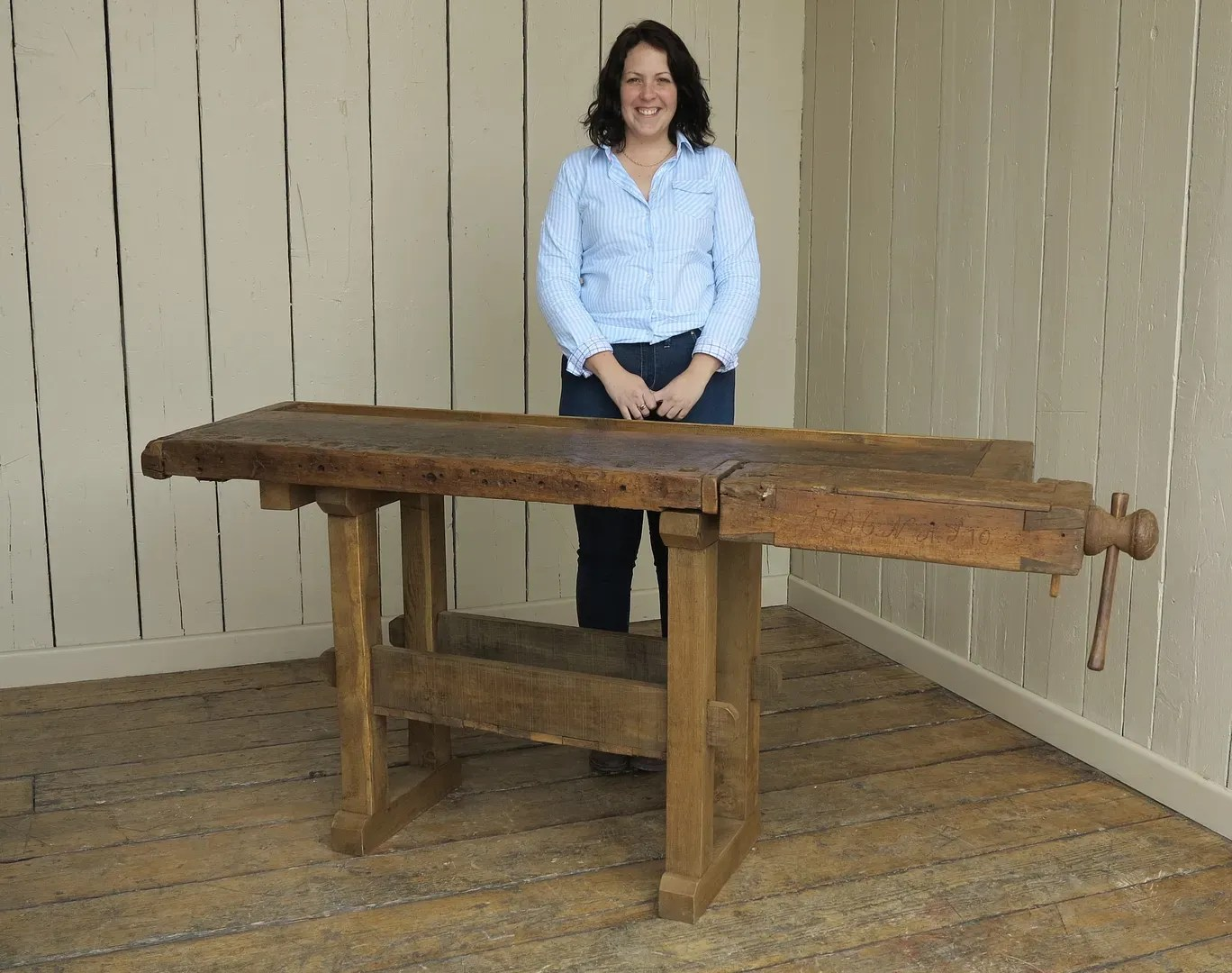 Antique Woodworking Vintage Bench With Vice And Shelf