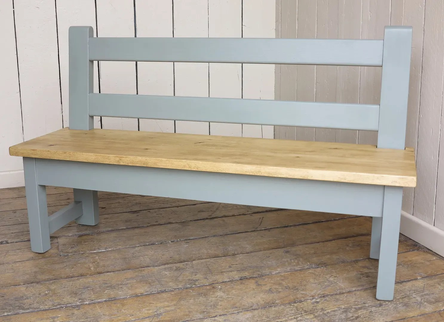 Antique Reclaimed Painted Pine Plank Top Bench With Back