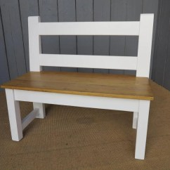 Pine Kitchen Bench Industrial Tables Antique Reclaimed With Back