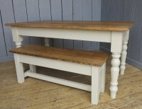 Reclaimed Pine Farmhouse Kitchen Table and Bench