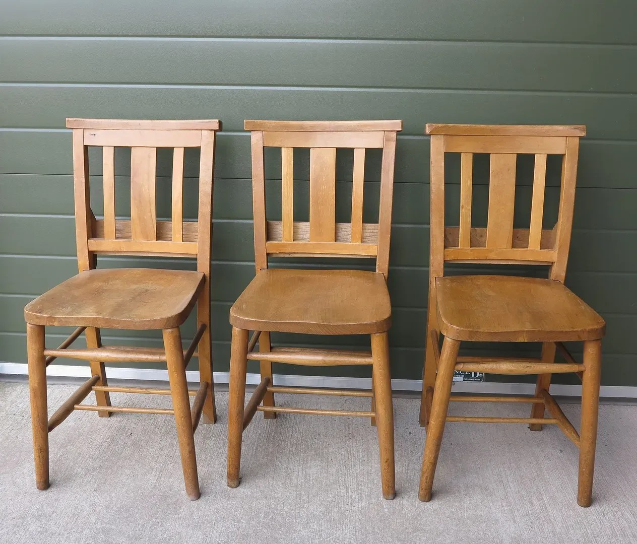 Antique Wooden Church Chairs with Bible Backs