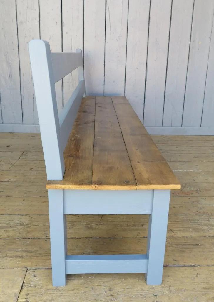 pine kitchen bench retro sinks antique reclaimed floorboard side view of