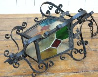 Vintage Stained Glass Coach Light   Porch Lanterns