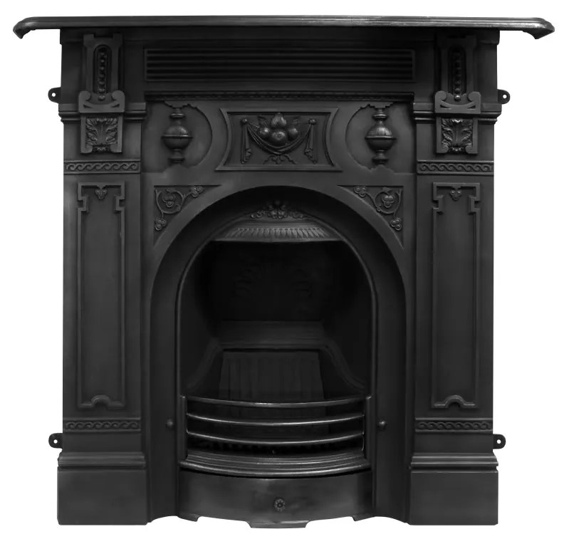 Victorian Black Finish Cast Iron Combination Fireplace