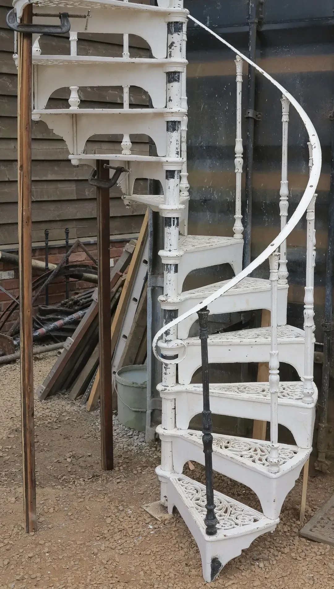 Reclaimed White Cast Iron Spiral Staircase Kits