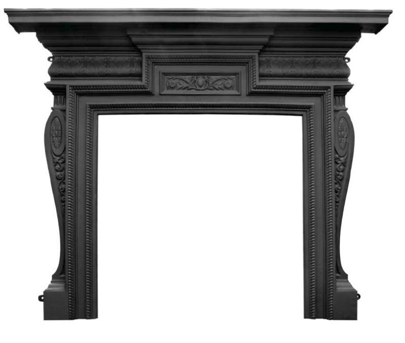 Knightsbridge Black Cast Iron Fireplace Surround HEB356