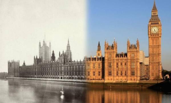Le palais de Westminster - en 1865 et présent.
