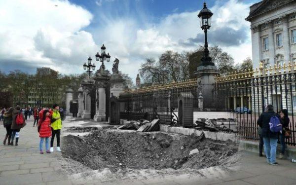 4 septembre 1940, devant Buckingham Palace.