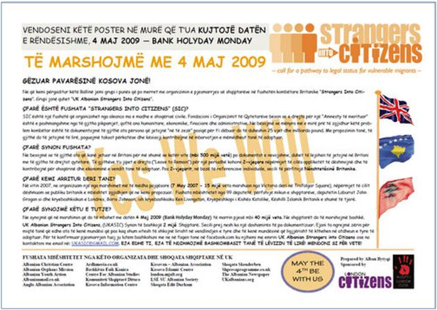 """""""Strangers into citizens"""" – të marshojmë me 4 maj 2009"""