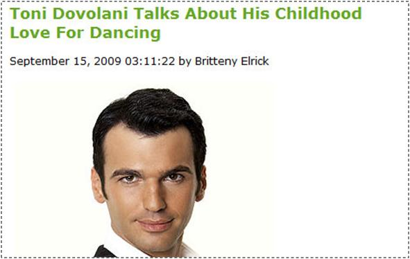 Toni Dovolani's story about his childhood passion for dancing