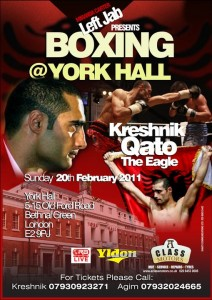 Kreshnik Qato's boxing match poster, 20 February 2011