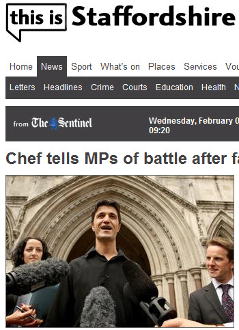 An Albanian Chef in a bid to convince MPs to change the law