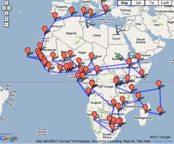 A map of James' recent Kosovo lobbying trip through Africa