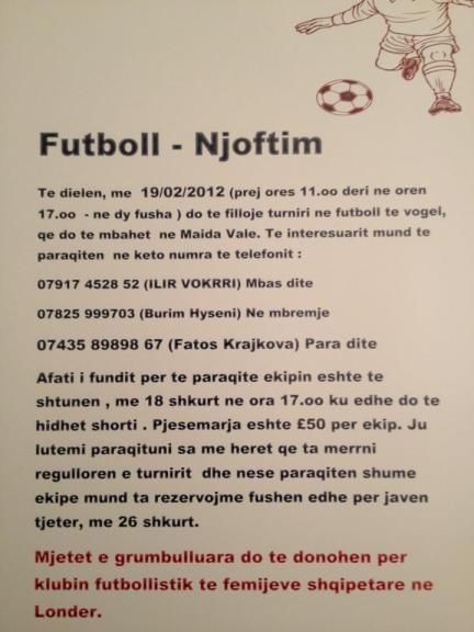 Turnir bamirës i futbollit të vogël në Londër me 19 shkurt 2012