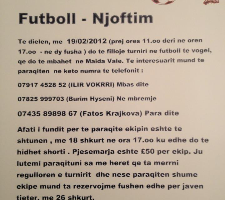 <!--:sq-->Turnir bamirës i futbollit të vogël në Londër me 19 shkurt 2012<!--:-->