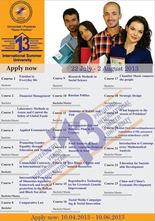University of Prishtina International Summer University 2013 courses