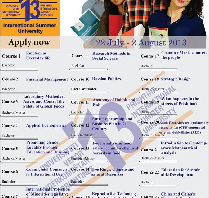 <!--:en-->Call for Application – University of Prishtina International Summer University 2013, deadline 10 June 2013<!--:--><!--:sq-->Aplikoni për Universitetin Veror Ndërkombëtar të Prishtinës, afati 10 qershor 2013<!--:-->