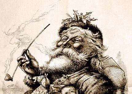 Ilustrimi i Thomas Nast, i cili në vitin 1881 e perfeksionoi imazhin e tij të rrumbullakët ikonik, me faqe të kuqe dhe me mjekërr