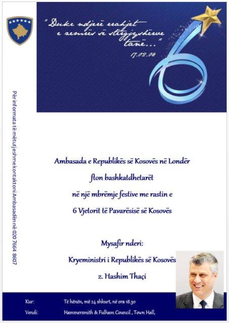 Kryeministri i Kosoves, z. Hashim Thaçi, do takohet me bashkëtdhetarët tanë në Londër me 24 shkurt 2014