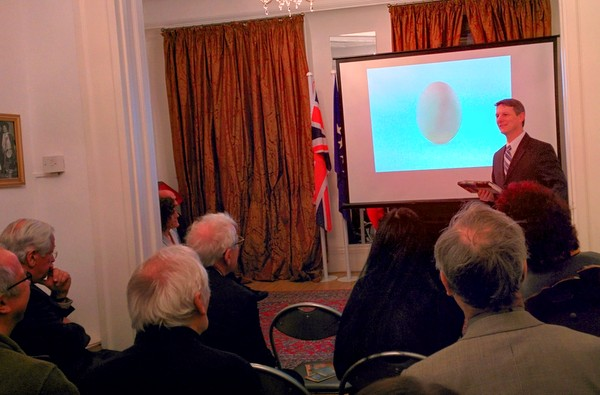 David Hosaflook, the book's translator presented the book at the Albanian Embassy with a colourful presentation.