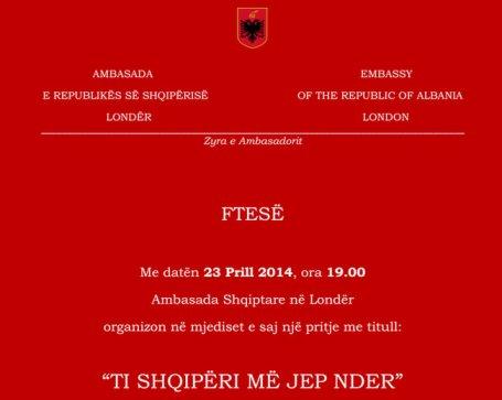 """""""Ti Shqipëri më jep nder"""", pritje në Ambasadën Shqiptare në Londër, me 23 prill 2014"""