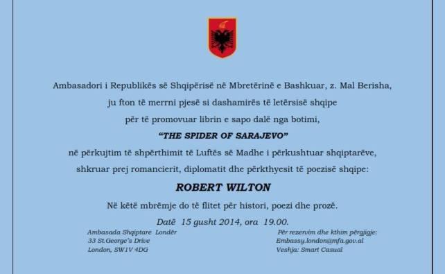 Ftesa per ngjarjen ne ambasaden shqiptare ne Londer me 15 gusht 2014