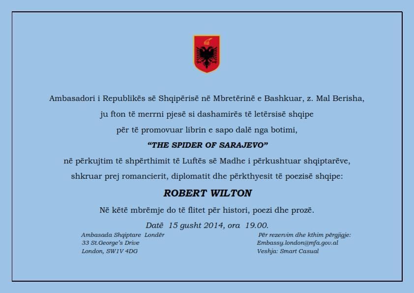 <!--:en-->Prezantohet bukuria e letërsisë shqiptare, në ambasadën shqiptare në Londër, 15 gusht 2014<!--:--><!--:sq-->Prezantohet bukuria e letërsisë shqiptare, në ambasadën shqiptare në Londër, 15 gusht 2014<!--:-->