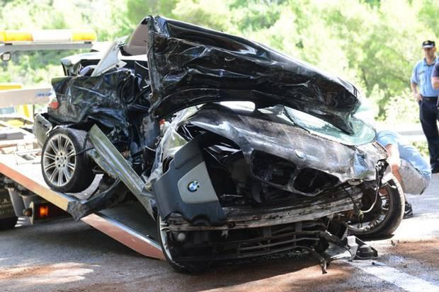 Makina e aksidentuar ne Kroaci ku dyshohet qe te aksidentuarit te jene shqiptare nga Kosova