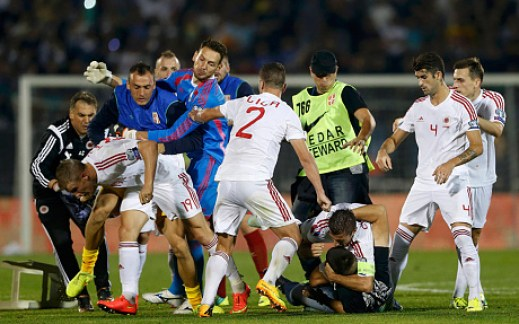 Albanian footballers were physically attacked by the Serbian players, stewards and fans!